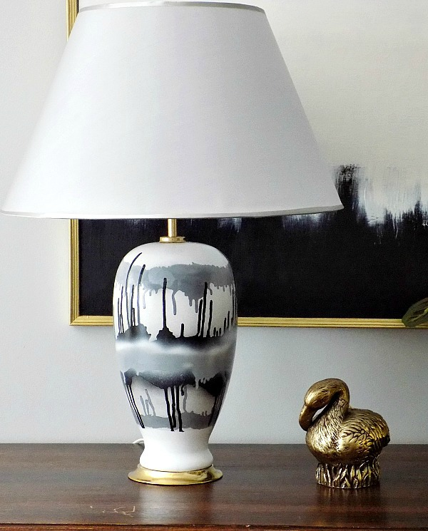 Black, white and gray table lamp