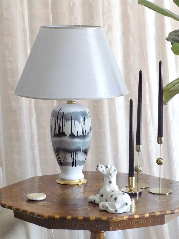 Black and white table lamp, HM Home candleholders