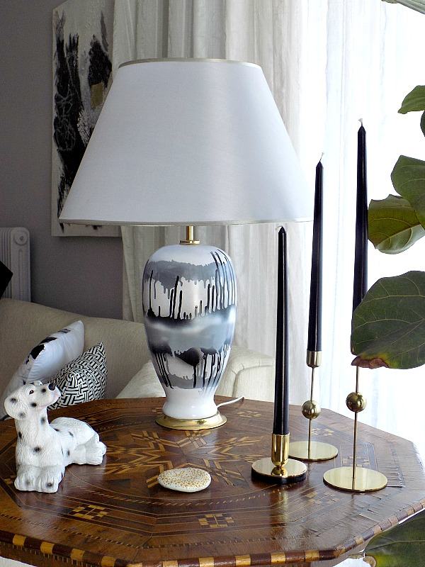 Black and white abstract table lamp diy