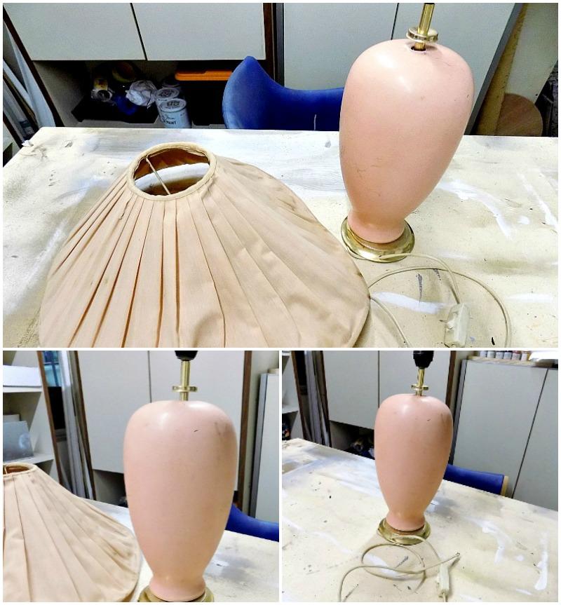 Old blush pink lamp