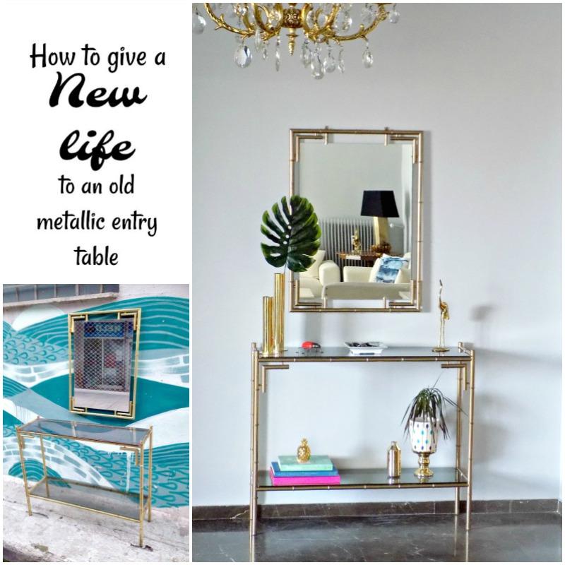 Μπρούτζινη κονσόλα εισόδου ανανεώθηκε με χρυσό σπρέι | How to give new life to an old bronze entry table