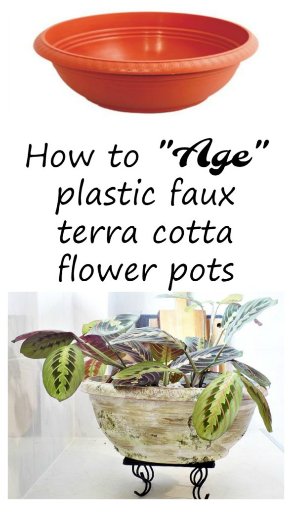 Πως μια καινούργια γλάστρα γίνεται παλιά, How to age plastic faux terra cotta flower pots