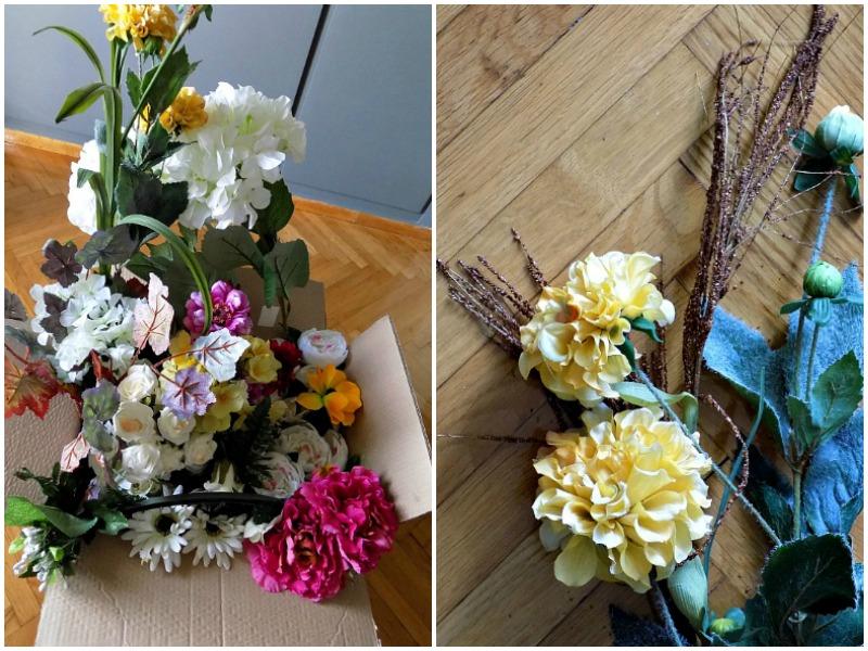 Ψεύτικα λουλούδια για boho glam στεφάνι