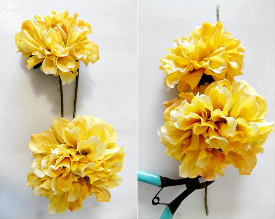 Ψεύτικα λουλούδια πάνω σε boho glam φθινοπωρινό στεφάνι