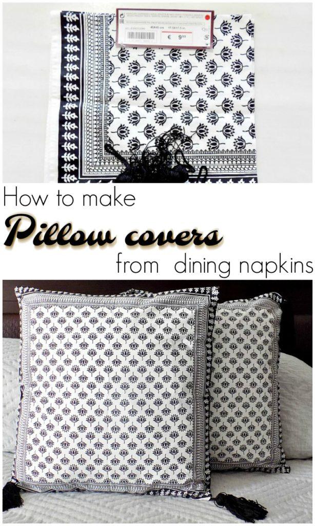 Καλύμματα μαξιλαριών από πετσέτες κουζίνας, | How to make pillow covers from dinner napkins