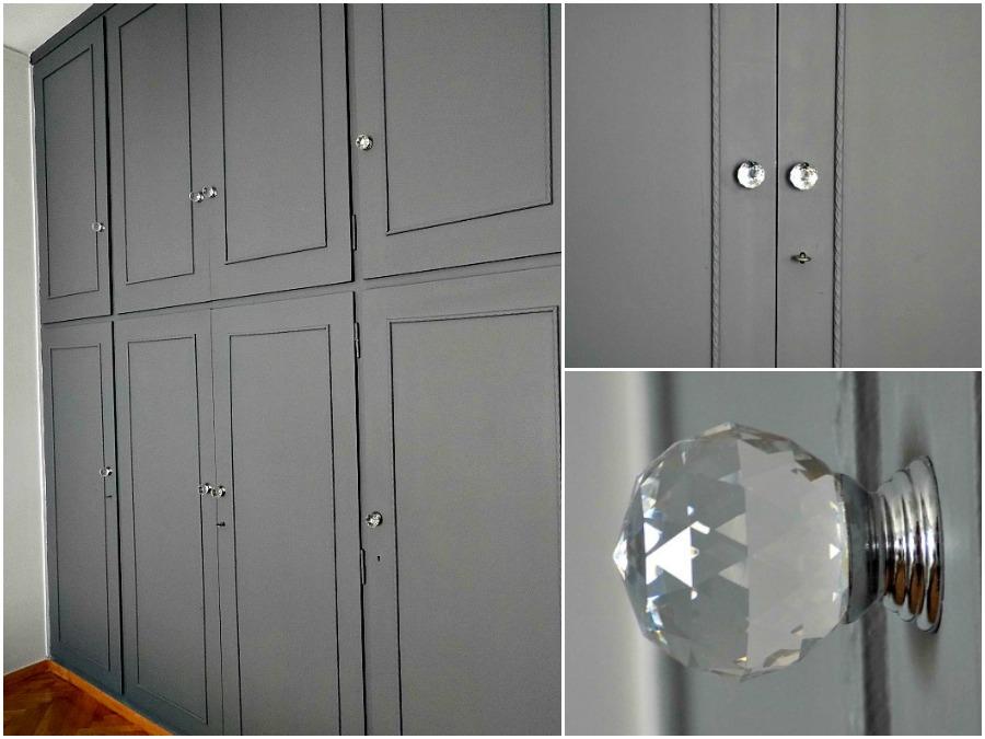 Η ντουλάπα στην κρεβατοκάμαρα βαμμένη σε γκρι ανθρακί χρώμα και κρυστάλλινα πόμολα από το Zara Home