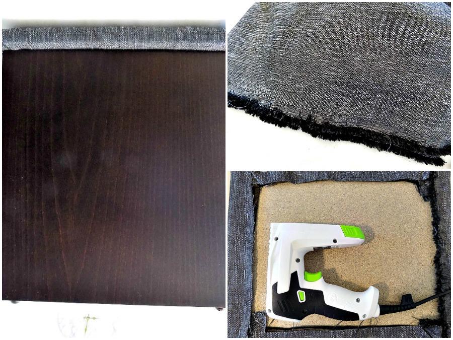 πως να ντύσεις ξύλινα σκαμπό με καινούργιο ύφασμα