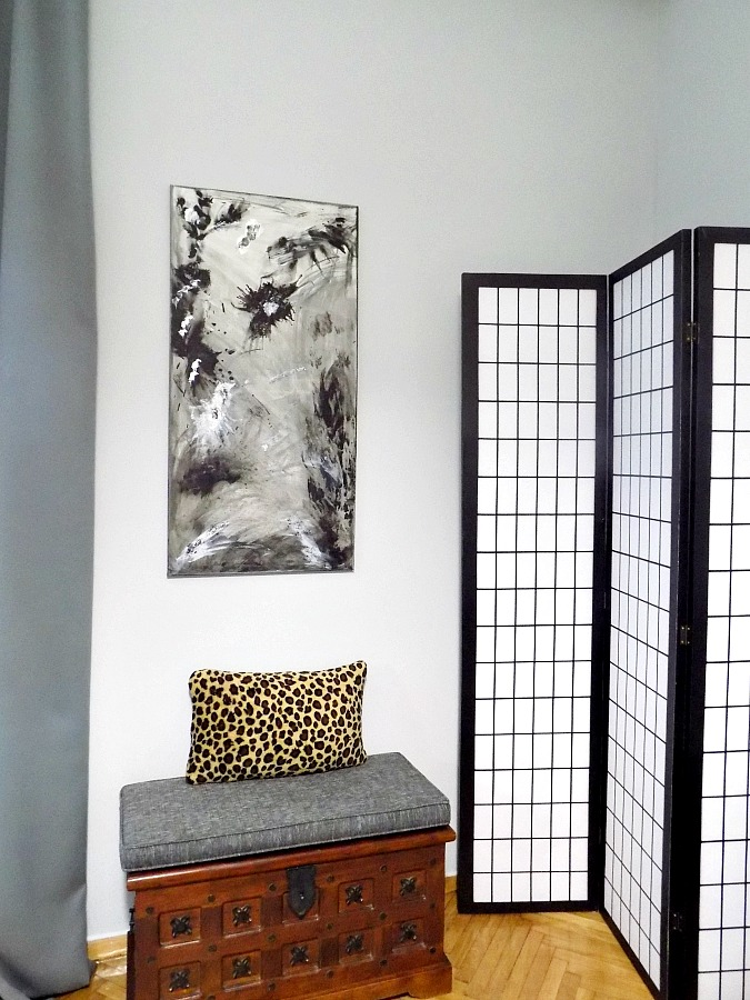 Master bedroom abstract art diy, leopard pillow, room devider