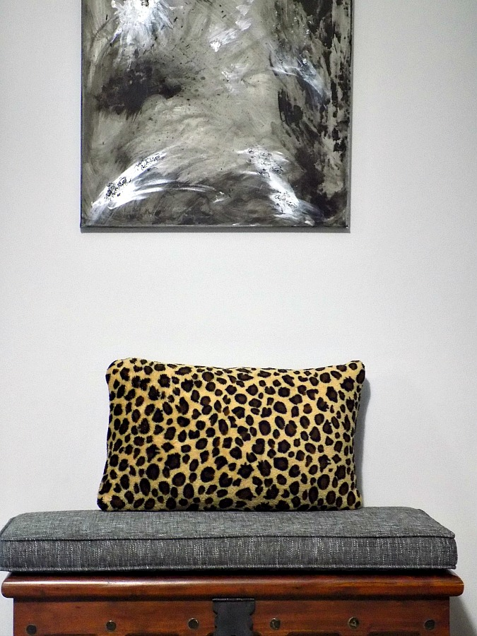 Master bedroom abstract art diy, leopard pillow