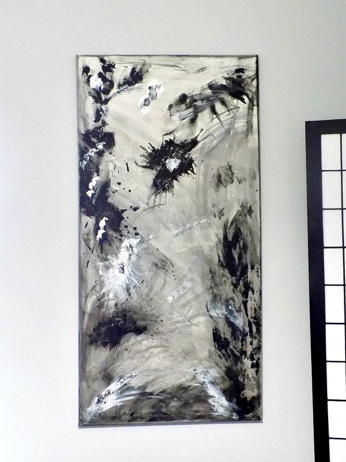 Master bedroom abstract art diy