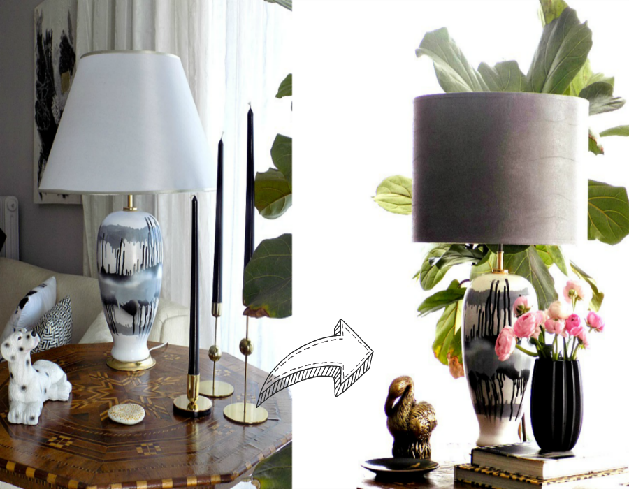 Classic silver lampshade vs diy faux leather lampshade