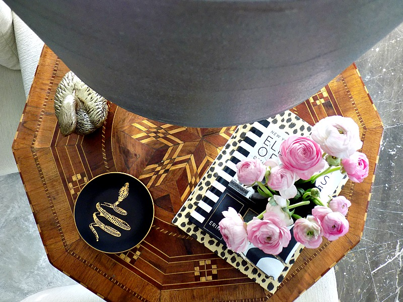 Diy faux leather lampshade, pink flowers, black plate with gold snake