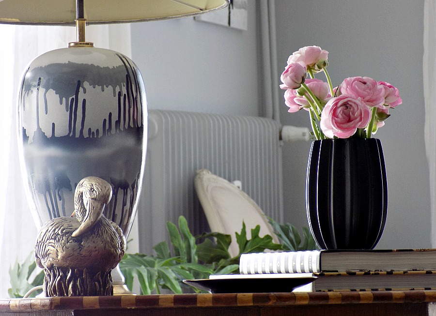 Pink ranunculus, abstract table lamp