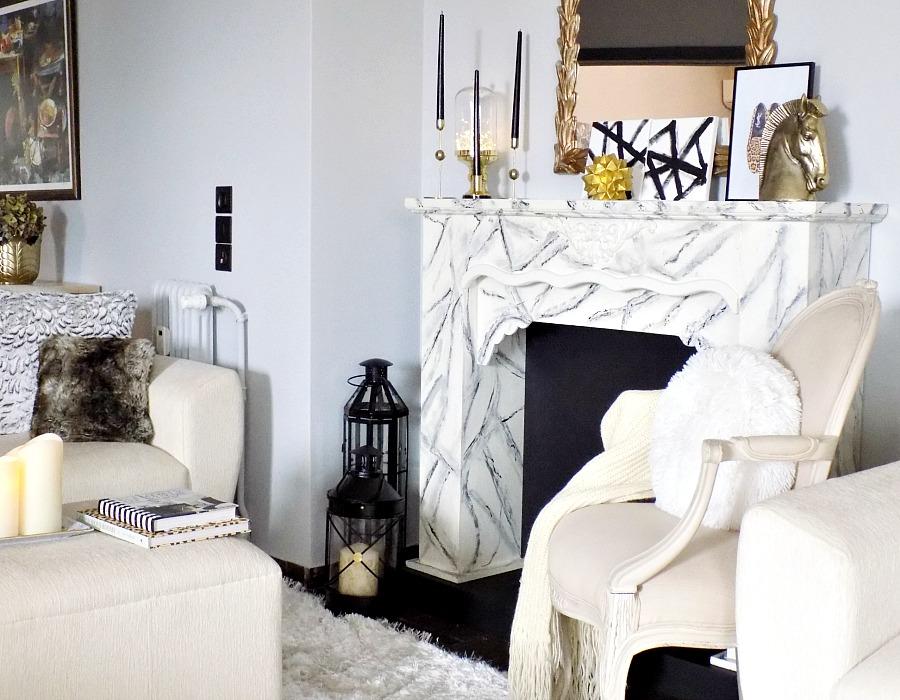 Χειμωνιάτικη διακόσμηση στο σαλόνι με λίγο χρυσό