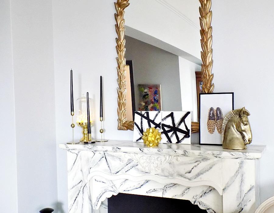 Winter decor on the mantel