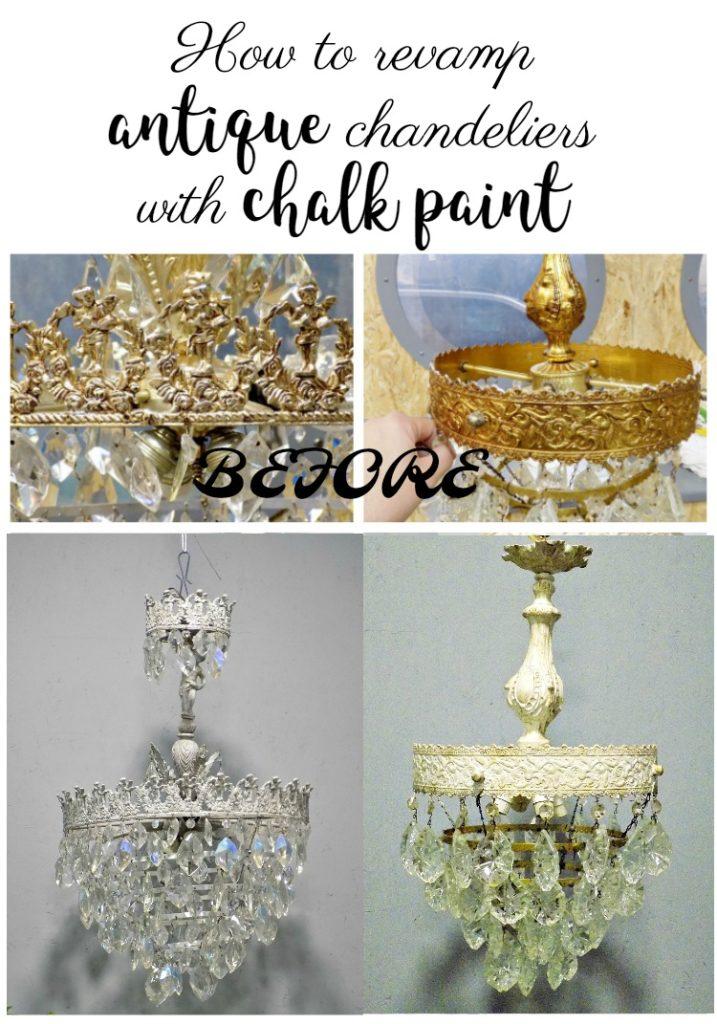 Ανανέωση παλιών πολυελαίων, How to revamp antique chandeliers with chalk paint