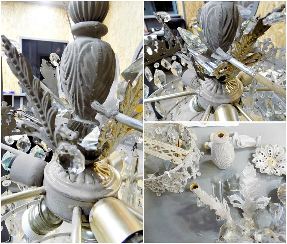 Ανανέωση παλιών πολυελαίων, How to paint a chandelier with chalk paint