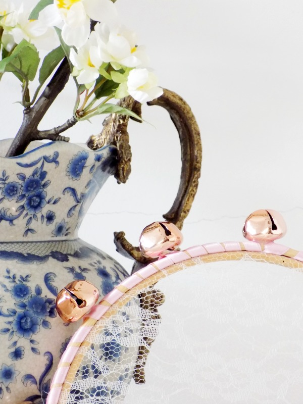 Jingle lace tambourine diy, white and pink flowers, white blue porcelain vase