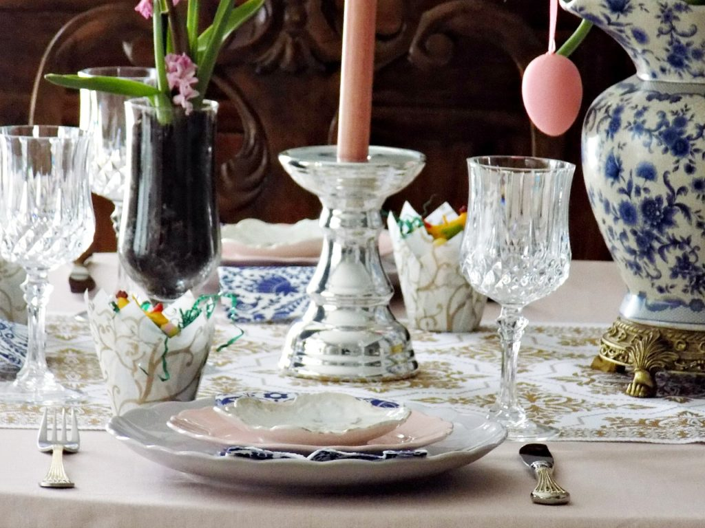 pink, lavender, blue, gold easter tablescape