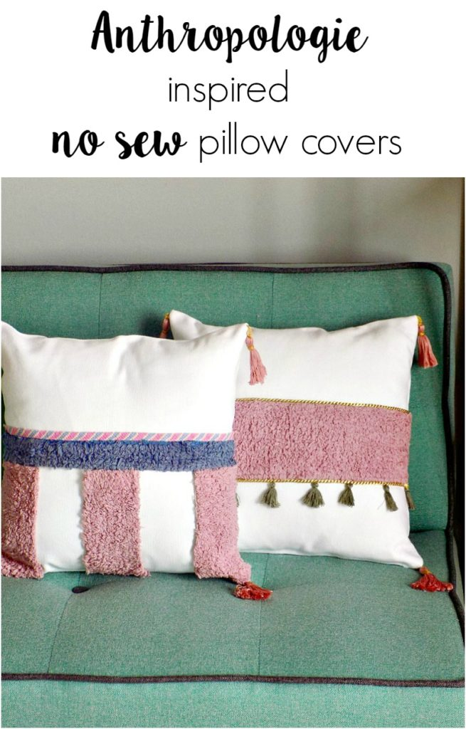 How to make anthropologie inspired no sew pillow covers