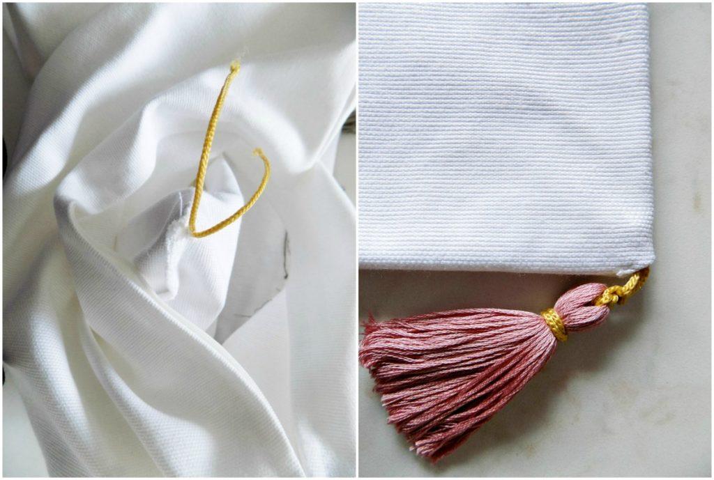 Μαξιλάρια χωρίς ράψιμο, how to put tassels on a pillow