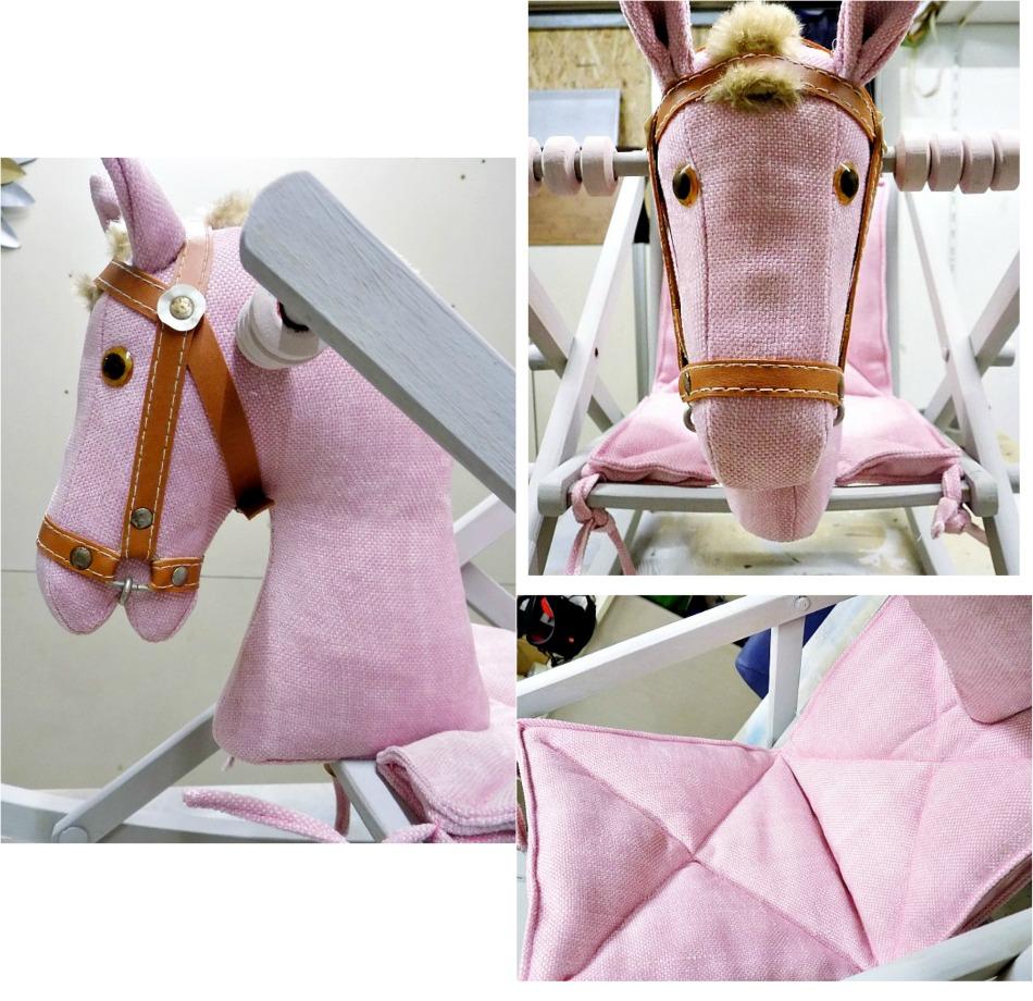 Ανανεωμένο ξύλινο αλογάκι σε ροζ και γκρι χρώματα