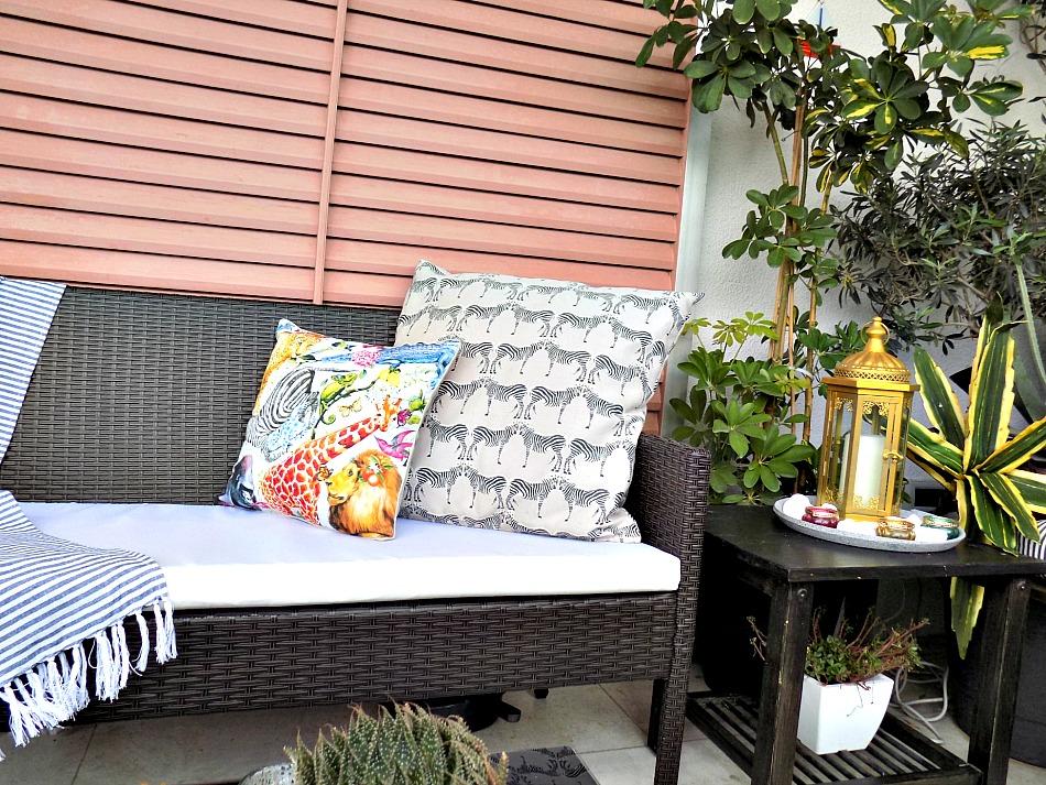 Outdoor sofa and pillows