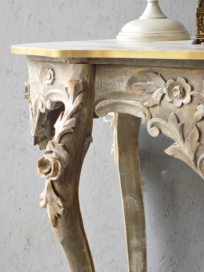 Antique console table makeover, stone effect