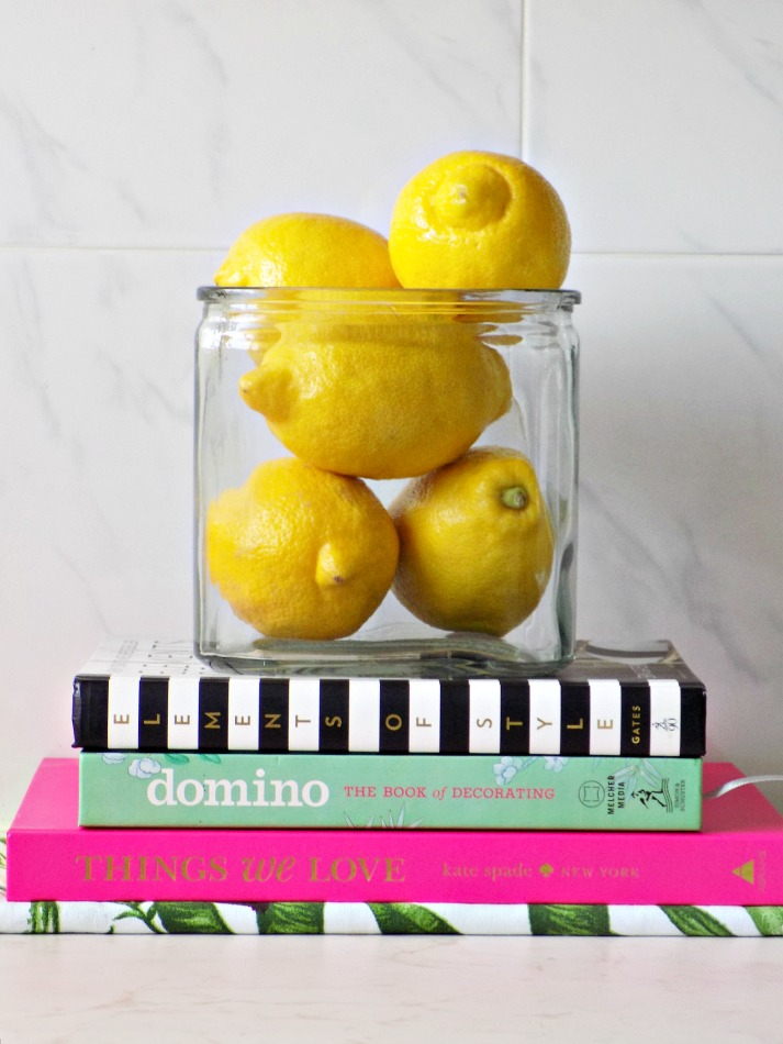 Decorating books and fresh lemons