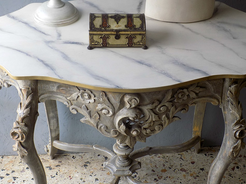 Faux marble top, antique console table makeover