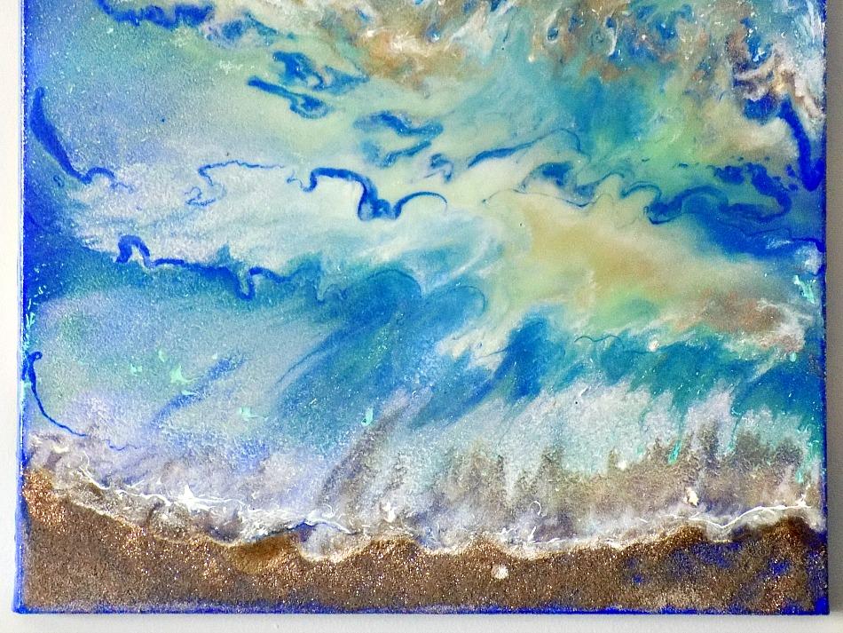 Θαλασσινό τοπίο, Beach resin art on a canvas