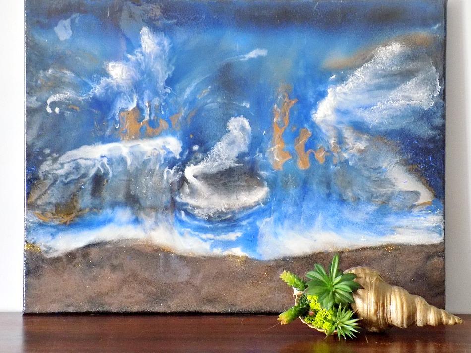 Θαλασσινό τοπίο, Seascape made of epoxy resin