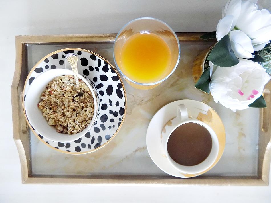 Μπρούτζινος δίσκος με μάρμαρο, δίσκος πρωινού