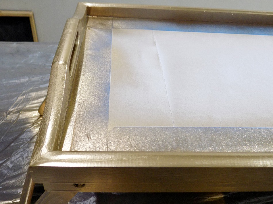 Gold spray paint, resin marble tray