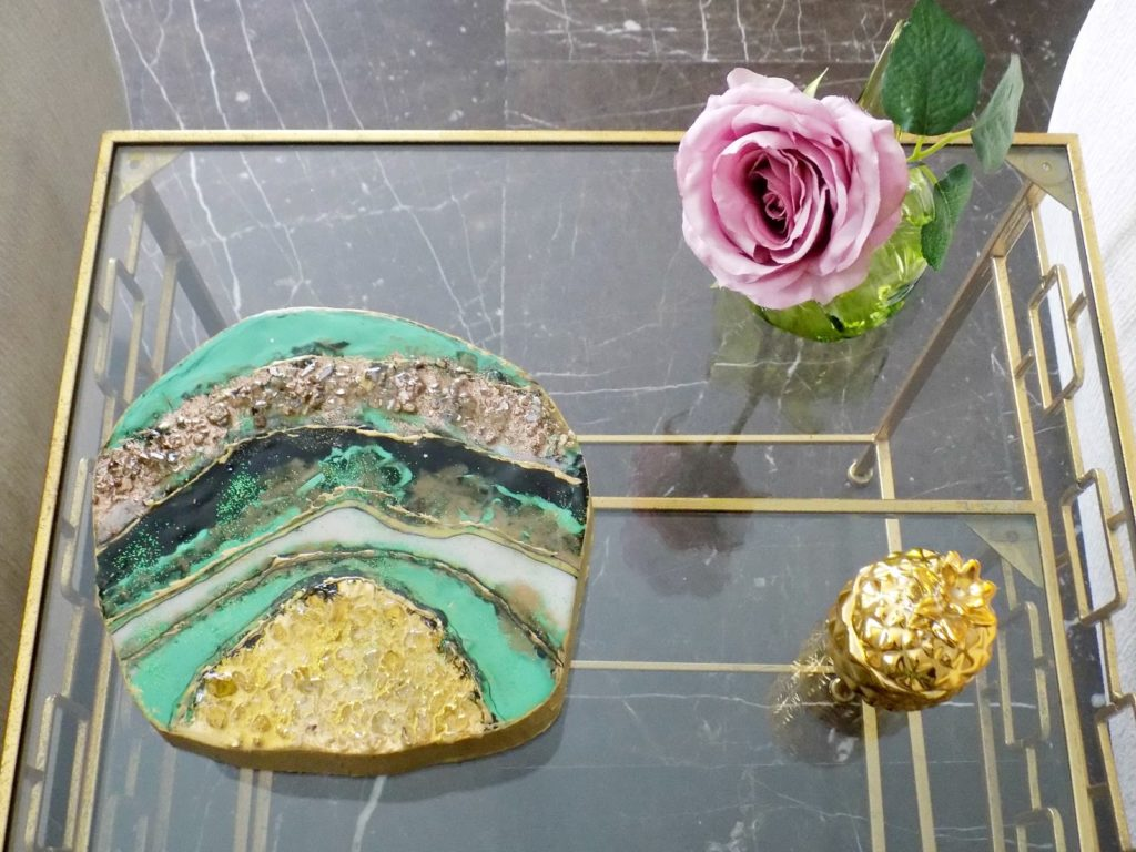 Green tones resin geode, glass side table in gold