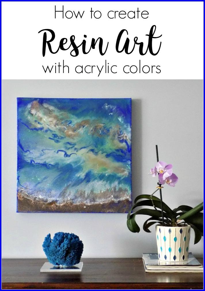 Θαλασσινό τοπίο, ζωγραφική με υγρό γυαλί και ακρυλικά χρώματα