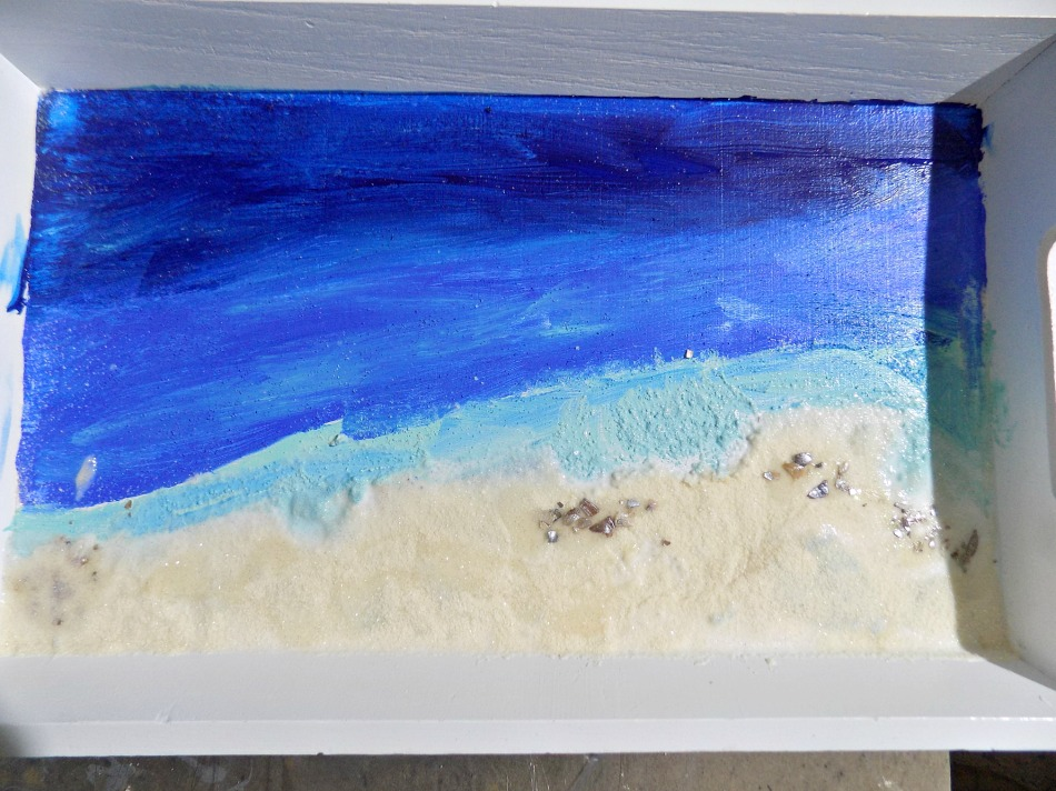 Beach art with acrylics and real sand