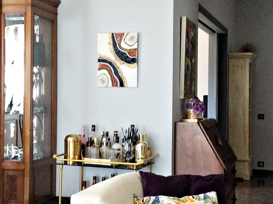 Earth tones geode resin art, gold trolley bar
