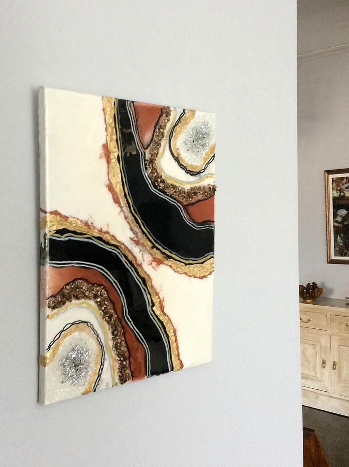 Geode resin wall art