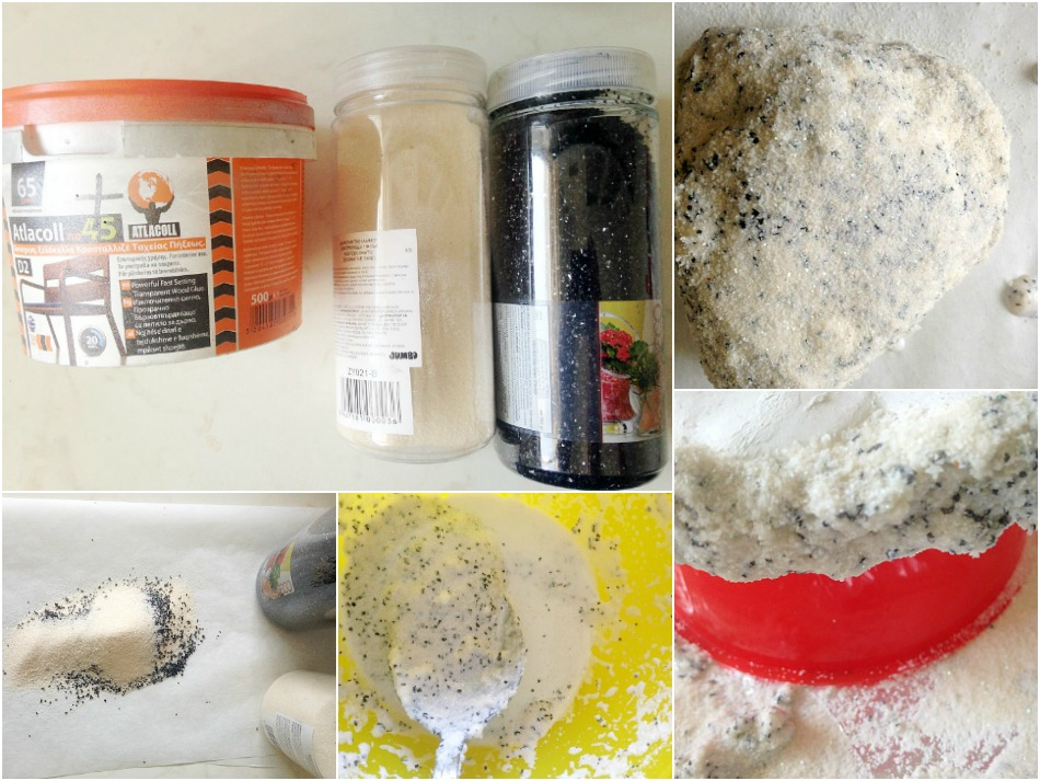 Glue sand on clay, diy geode stones