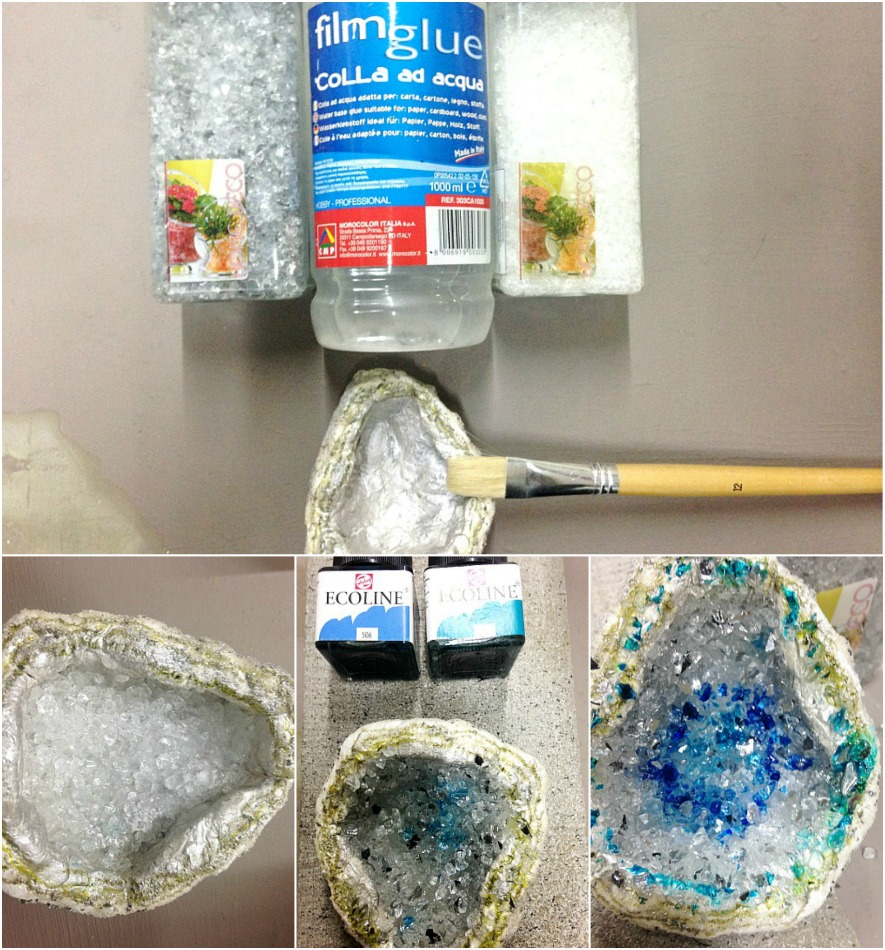 How to add crystals on faux geode stones
