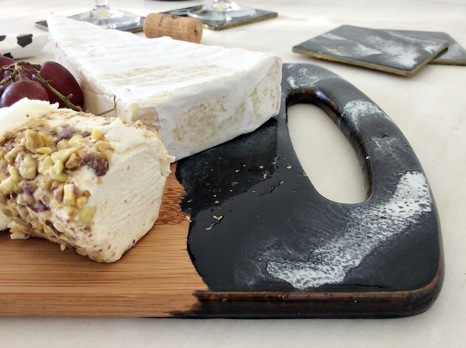 Δίσκος κοπής με τεχνοτροπία μάρμαρο, Marble coasters and cheeseboard with epoxy resin