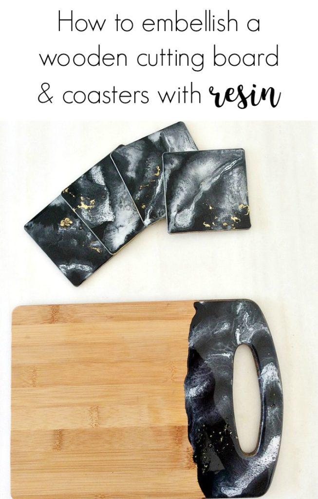 Δίσκος κοπής με τεχνοτροπία μάρμαρο, How to embellish a wooden cutting board and coasters with resin