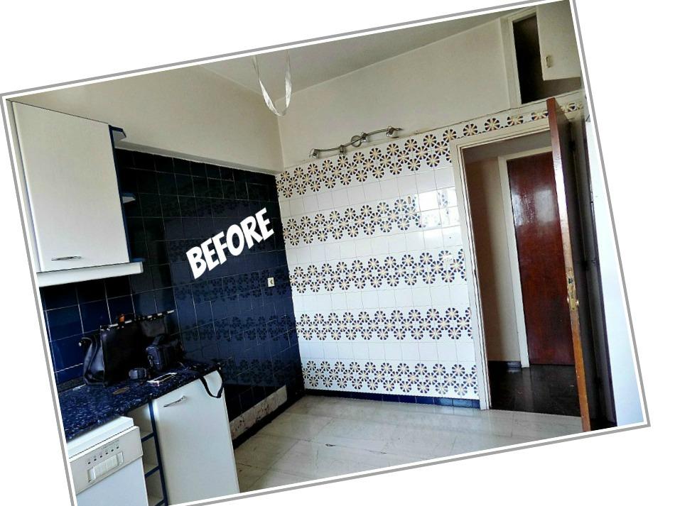 Κουζίνα πριν την ανακαίνιση, παλιά πλακάκια τοίχου