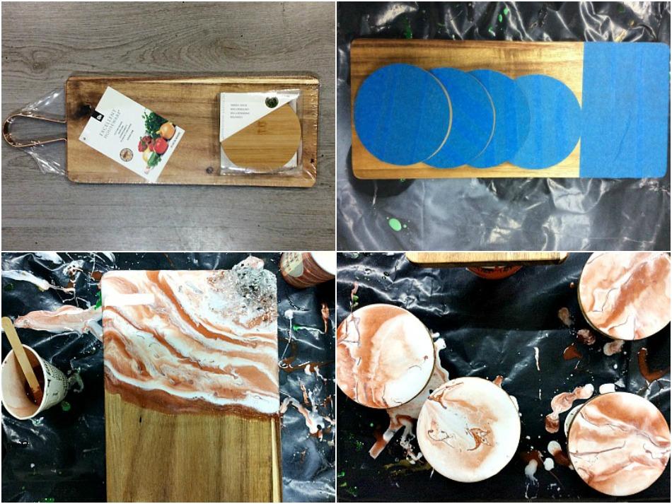 Υγρό γυαλί, κρύσταλλα και γκλίτερ πάνω σε ξύλο κοπής και σουβέρ
