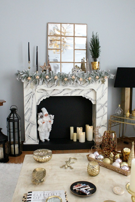 Faux fireplace christmas decor