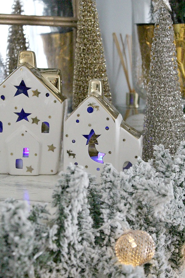 Faux fireplace christmas decor, white and gold