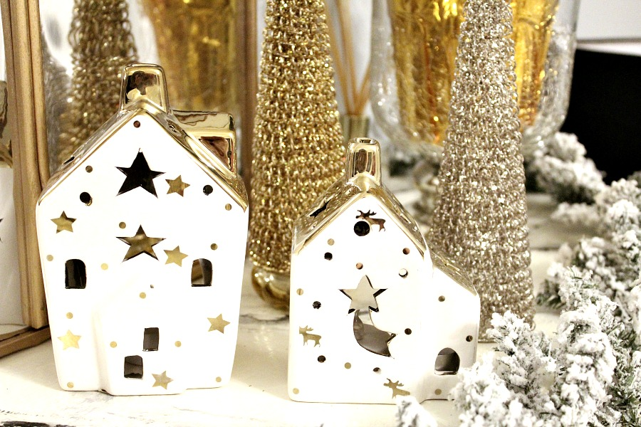 White gold christmas houses