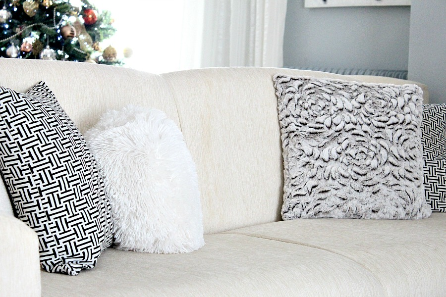 Sofa pillows, faux fur pillows