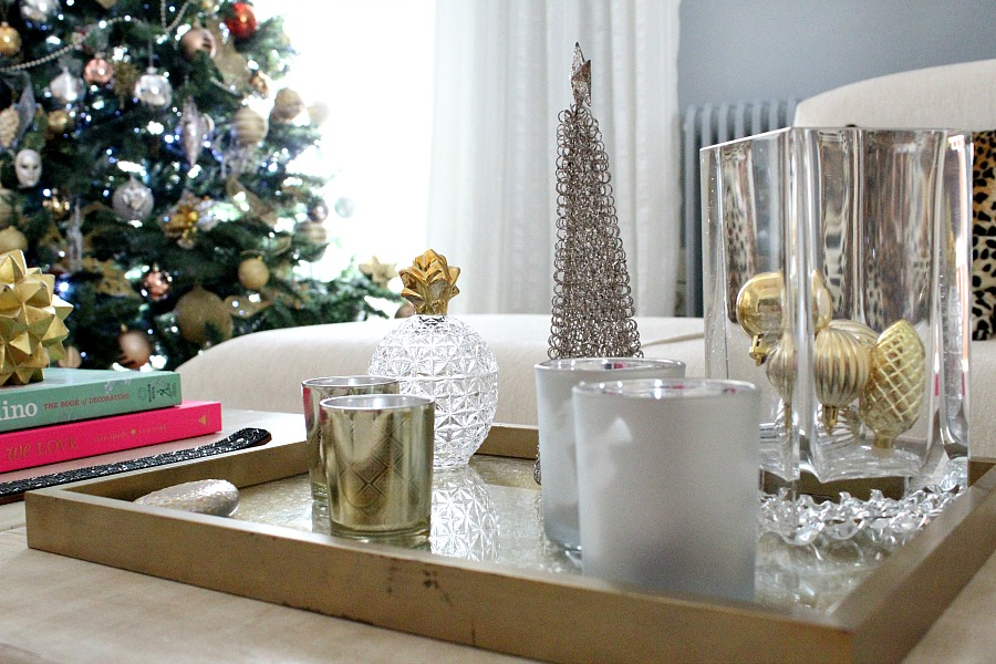 Coffe table christmas decor, gold, silver